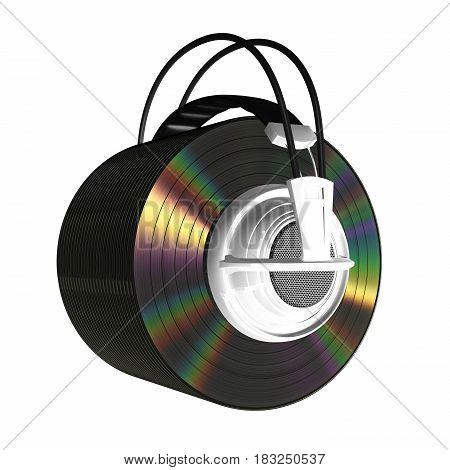 Headphones And Vinyls On White Background. 3D Illustration.