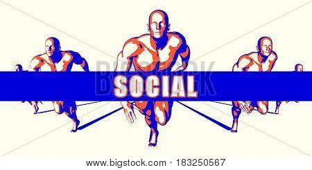 Social as a Competition Concept Illustration Art 3D Illustration Render