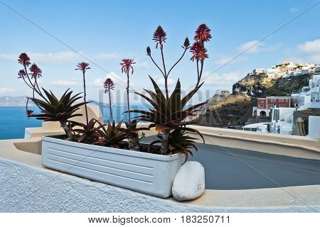 Caldera view from Thira to Imerovigli at Santorini island, Greece