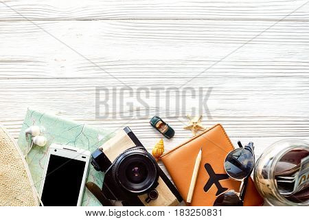 Time To Travel Concept, Wanderlust Vacation Background Flat Lay, Space For Text. Camera Sunglasses P
