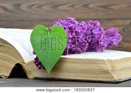 Happy Fathers Day card: Lilac flower and heart shaped leaf on the old book