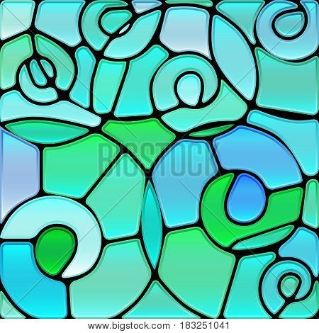 abstract vector stained-glass mosaic background - blue spirals