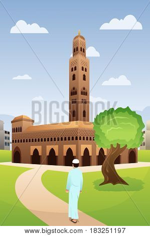 A vector illustration of Muslim Man Going to Mosque