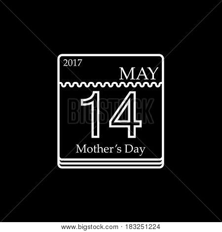 Calendar line icon, mothers day for 2017, 14th may vector graphics, a linear pattern on a black background, eps 10.
