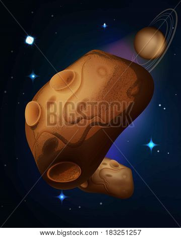 Vector asteroids drifting in space vector illustration