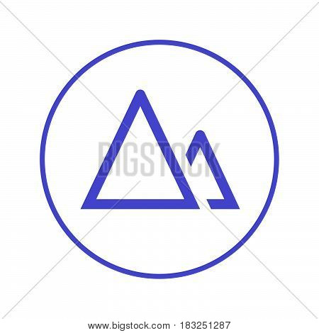 terrain mountains circular line icon. Round sign. Flat style vector symbol