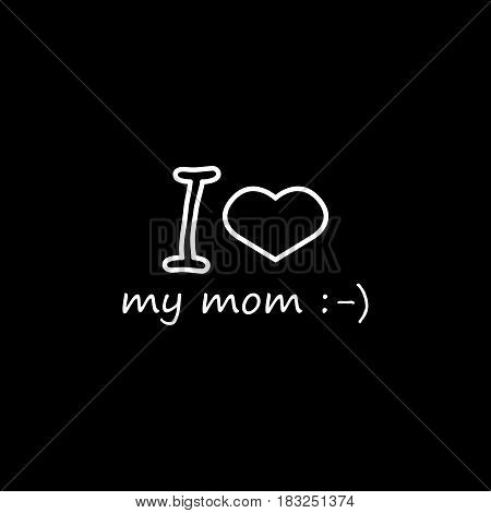 I love my mom line icon, mothers day, holiday vector graphics, a linear pattern on a black background, eps 10.