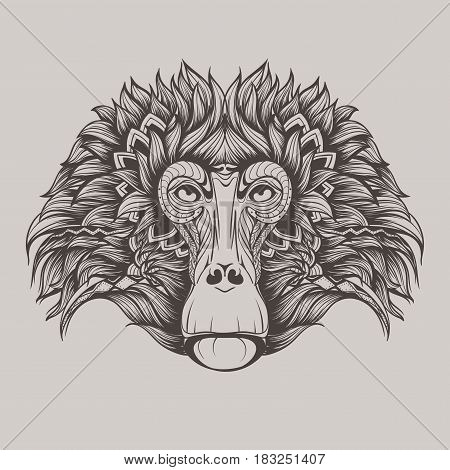Vector gray illustration baboon monkey face doodle