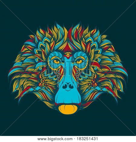 Vector colorful illustration baboon monkey face doodle