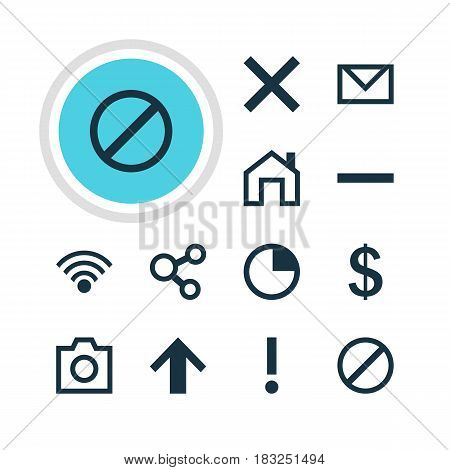 Vector Illustration Of 12 Interface Icons. Editable Pack Of Access Denied, Stopwatch, Mainpage And Other Elements.