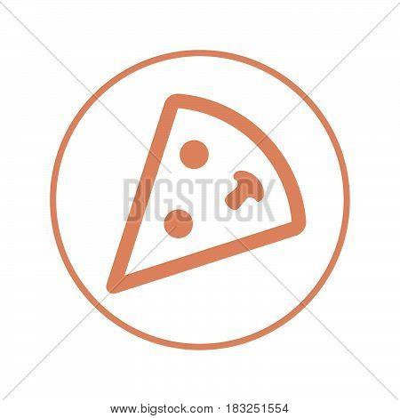 pizza slice circular line icon. Round sign. Flat style vector symbol