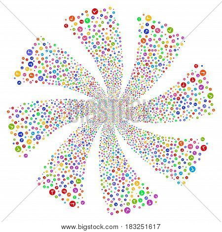 Apply fireworks swirl rotation. Vector illustration style is flat bright multicolored iconic symbols on a white background. Object flower done from random icons.