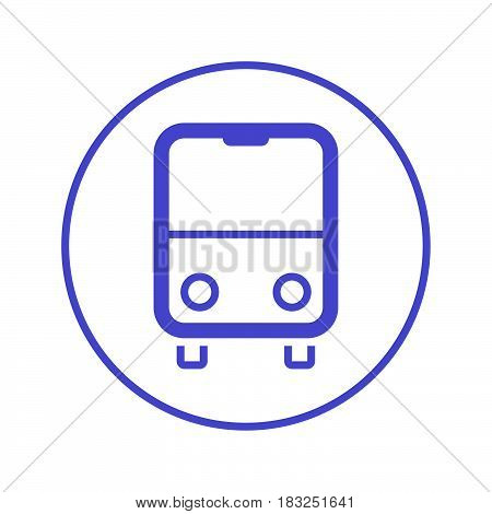 Bus circular line icon. Round sign. Flat style vector symbol