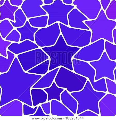 abstract vector stained-glass mosaic background - blue and violet stars