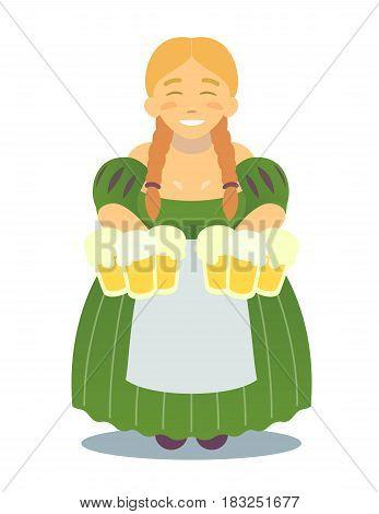 Logo - cute cartoon blonde girl in traditional dress with beer mugs. Oktoberfest or St.Patrick 's Day. Tavern, pub, bar, festival. flat design