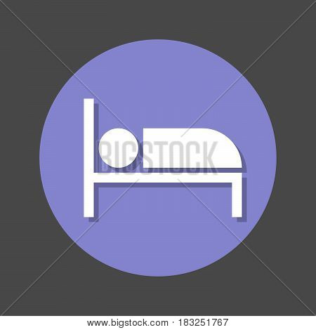 Bed flat icon. Round colourful button circular vector sign with shadow effect. Flat style design