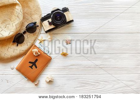 Summer Travel Vacation Concept Flat Lay, Space For Text. Photo Camera Passport  Money Plane Hat  And