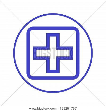hospital cross circular line icon. Round sign. Flat style vector symbol