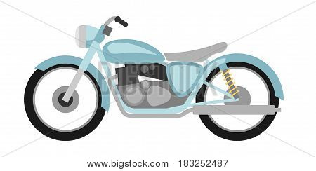 Flat style retro motorcycle on a white background