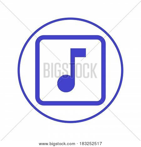 Music note circular line icon. Round sign. Flat style vector symbol