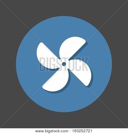 Paper windmill pinwheel flat icon. Round colorful button circular vector sign with shadow effect. Flat style design