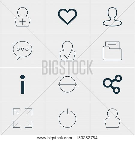 Vector Illustration Of 12 Member Icons. Editable Pack Of Dossier, Approved Profile, Publish And Other Elements.
