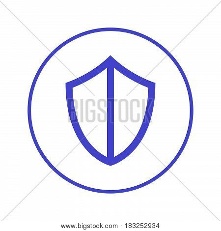 Shield protection circular line icon. Round sign. Flat style vector symbol