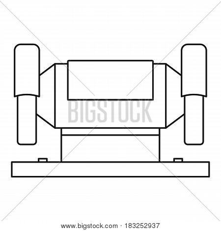 Metalworking machine icon in outline style isolated on white background vector illustration