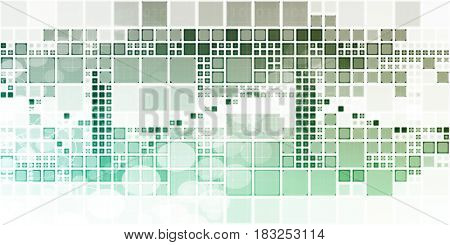 Block Abstract Background with Dynamic Digital Theme Art 3D Illustration Render