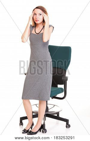 Stressed Young Attractive Businesswoman Isolated