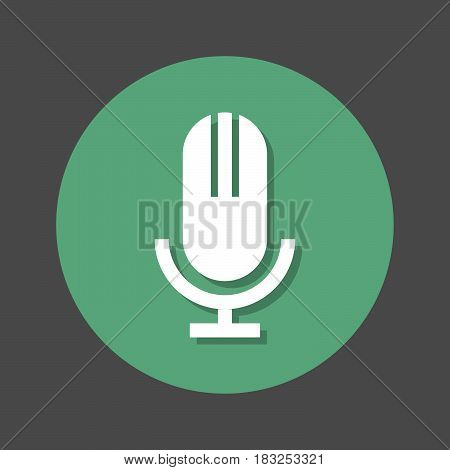 Old microphone flat icon. Round colorful button circular vector sign with shadow effect. Flat style design