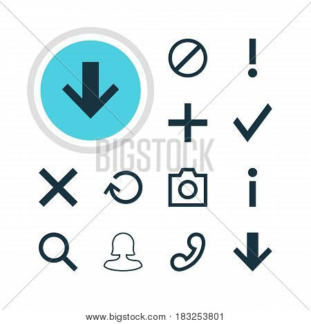 Vector Illustration Of 12 User Icons. Editable Pack Of Seek, Plus, Access Denied And Other Elements.
