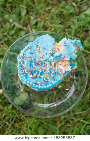 Remains of a blue cake with sprinkles in nature set upon some grass at a park after a child's first birthday cake smash.