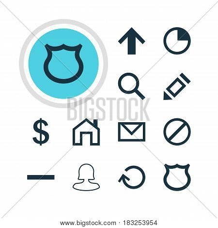 Vector Illustration Of 12 Interface Icons. Editable Pack Of Female User, Pen, Letter And Other Elements.