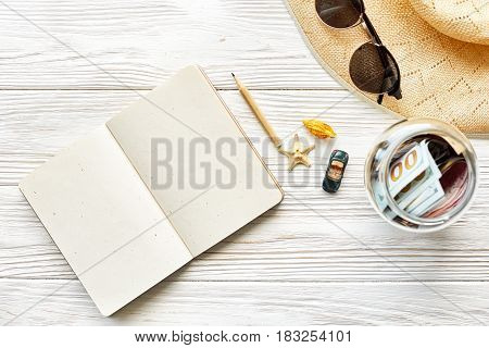 Planning Summer Travel Concept And Wanderlust Flat Lay, Space For Text. Empty Notebook With Pen Mone