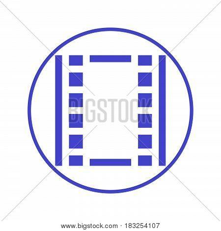 Film circular line icon. Round sign. Flat style vector symbol