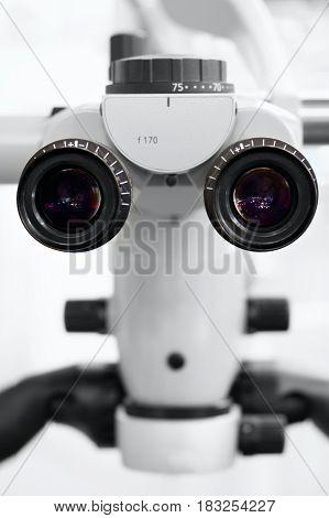 closeup dental medicine Microscope eyepiece laboratory .