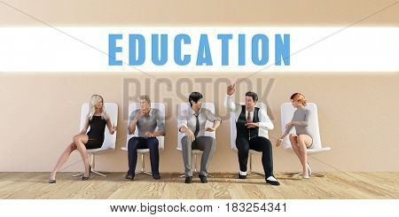Business Education Being Discussed in a Group Meeting 3D Illustration Render