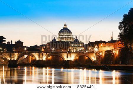 Rome at dusk: Saint Peter's Basilica after sunset.