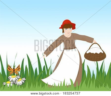 Little girl in red hat with a basket dancing on the grass. Vector illustration