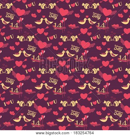 14 February Valentine's day seamless vector pattern