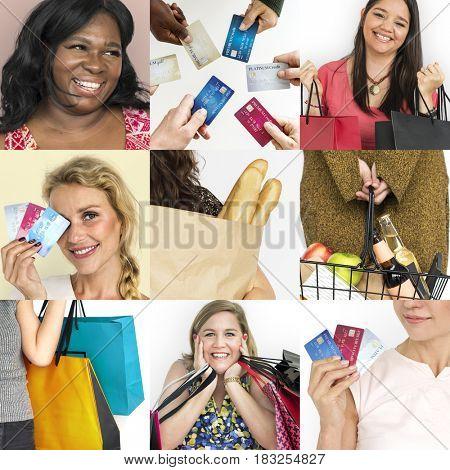 Set of Diverse Women Enjoying Sale Buy Shopping Studio Collage