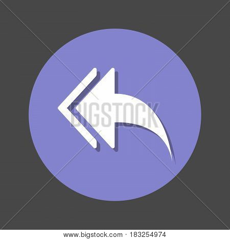 Left arrows Reply to all flat icon. Round colorful button circular vector sign with shadow effect. Flat style design