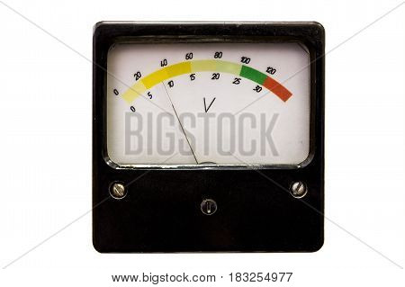 Old measuring instrument with arrow and color scale, isolated on white background. Retro-analog device