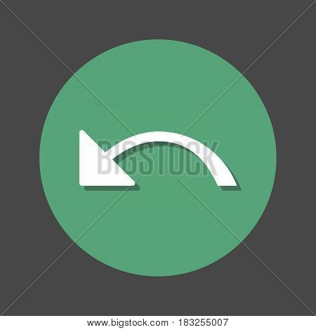 Undo left arrow flat icon. Round colorful button circular vector sign with shadow effect. Flat style design