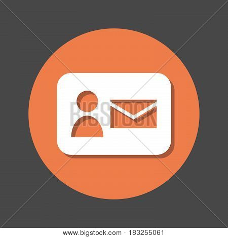 Contact mail flat icon. Round colorful button circular vector sign with shadow effect. Flat style design