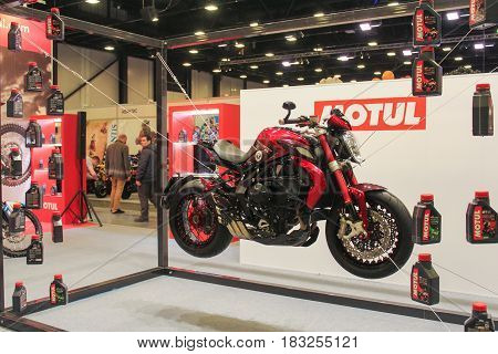 St. Petersburg Russia - 15 April, Bike on the stretch marks,15 April, 2017. International Motor Show IMIS-2017 in Expoforurum. Motorcycles and motoconcepts presented at St. Petersburg Motor Show.