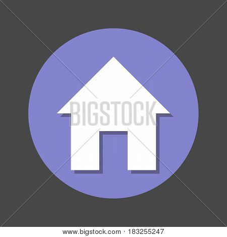 Home page House flat icon. Round colorful button circular vector sign with shadow effect. Flat style design