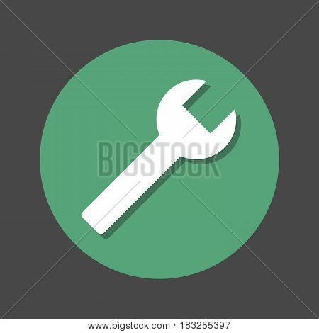 Spanner wrench key repair flat icon. Round colorful button circular vector sign with shadow effect. Flat style design