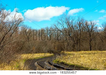 Spring landscape. Dirty spring road. Impassability and mudslides 5